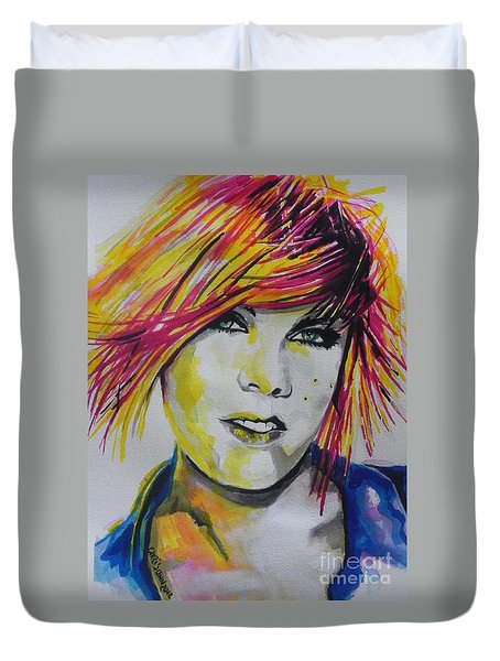 Music Artist..pink Duvet Cover by Chrisann Ellis