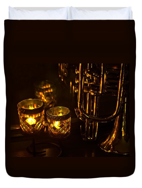 Trumpet And Candlelight Duvet Cover