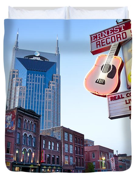 Duvet Cover featuring the photograph Music City Usa by Brian Jannsen