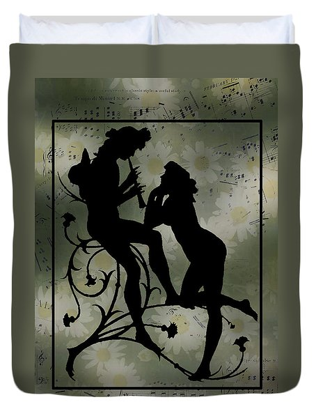 Duvet Cover featuring the digital art Music Daisies And Silhouette by Sandra Foster