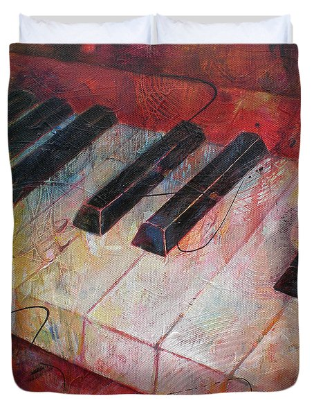 Music Is The Key - Painting Of A Keyboard Duvet Cover by Susanne Clark