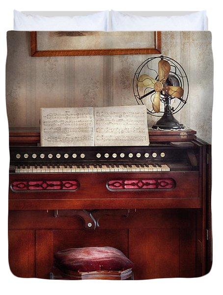 Music - Organist - My Grandmothers Organ Duvet Cover by Mike Savad