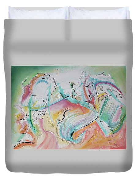 Music Spirits At Play In Brazil Duvet Cover by Asha Carolyn Young
