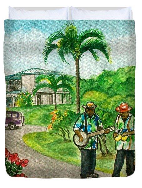 Musicians On Island Of Grenada Duvet Cover