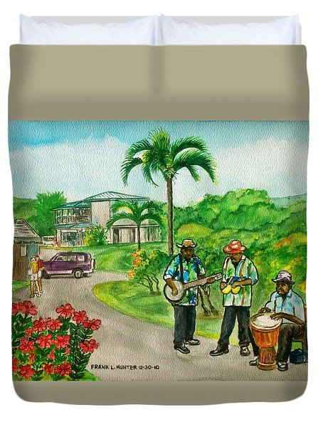 Musicians On Island Of Grenada Duvet Cover by Frank Hunter