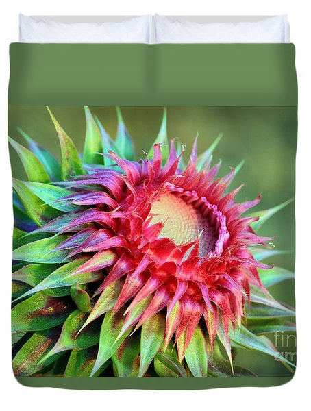 Duvet Cover featuring the photograph Musk Thistle by Teresa Zieba