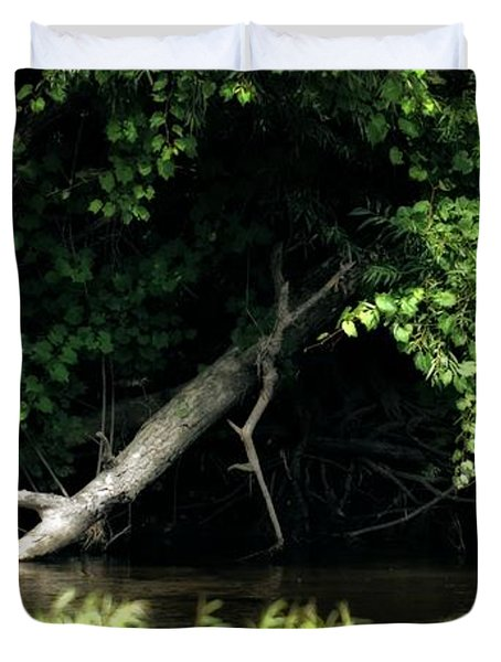 Muskegon River Heron Duvet Cover