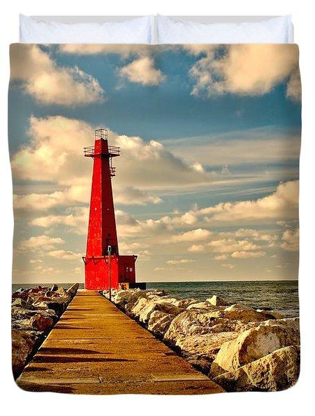 Muskegon South Pier Light Duvet Cover