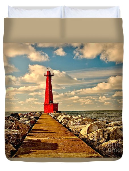 Muskegon South Pier Light Duvet Cover