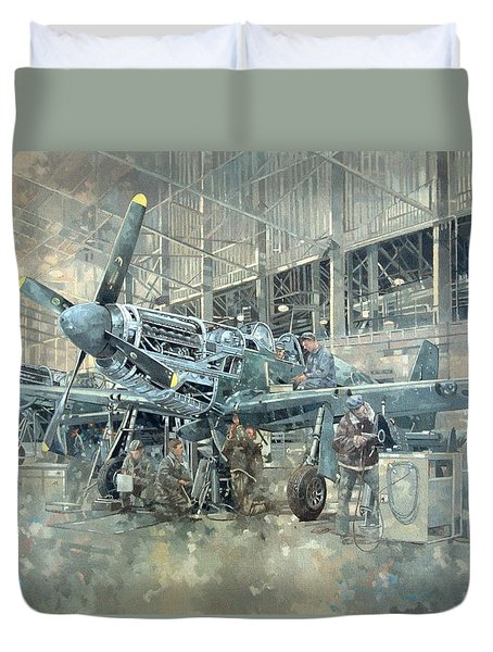 Mustang At Warton Duvet Cover by Peter Miller