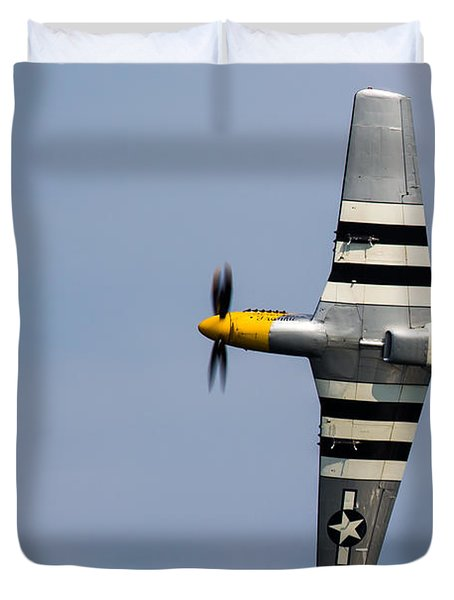 Duvet Cover featuring the photograph Mustang Flyby D-day by Scott Lyons