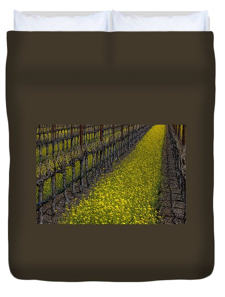 Mustrad Grass In The Vineyards Duvet Cover by Garry Gay