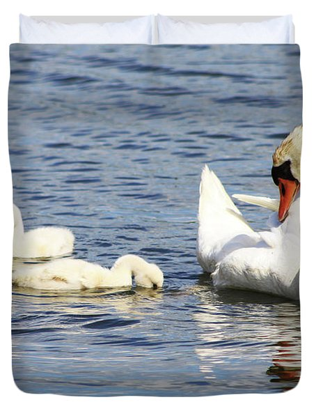 Duvet Cover featuring the photograph Mute Swans by Alyce Taylor