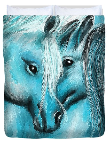 Mutual Companions- Fine Art Horse Artwork Duvet Cover