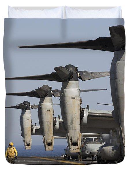 Mv-22 Ospreys Sit Ready For Launch Duvet Cover
