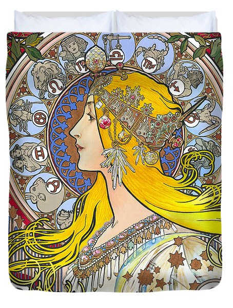 My Acrylic Painting As An Interpretation Of The Famous Artwork Of Alphonse Mucha - Zodiac - Duvet Cover