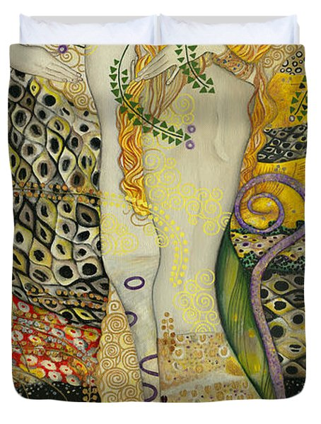My Acrylic Painting As An Interpretation Of The Famous Artwork Of Gustav Klimt - Water Serpents I Duvet Cover by Elena Yakubovich
