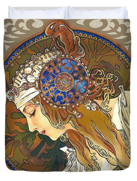 My Acrylic Painting As Interpretation Of Alphonse Mucha- Byzantine Head. The Blonde. Diagonal Frame. Duvet Cover