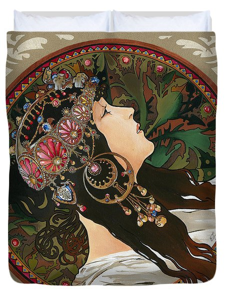 My Acrylic Painting As Interpretation Of Alphonse Mucha - Byzantine Head The Brunette Diagonal Frame Duvet Cover