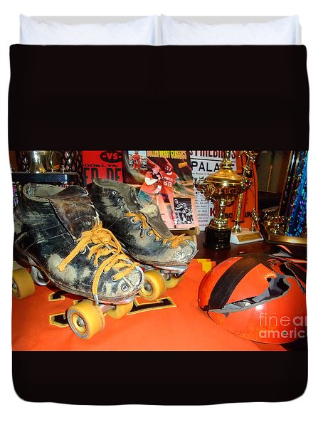 Duvet Cover featuring the photograph My Battle Scarred Roller Derby Skates And Helmet   by Jim Fitzpatrick