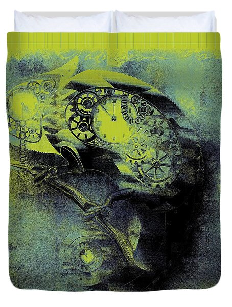 Chameleon - Lime - 01b02 Duvet Cover by Variance Collections