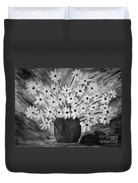 My Daisies Black And White Version Duvet Cover