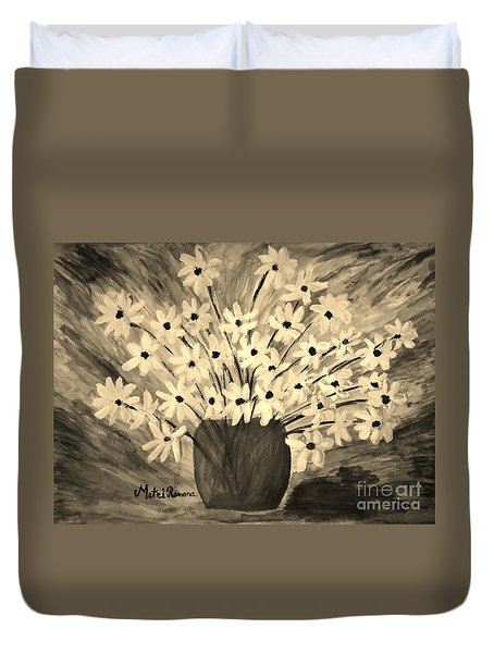 My Daisies Sepia Version Duvet Cover
