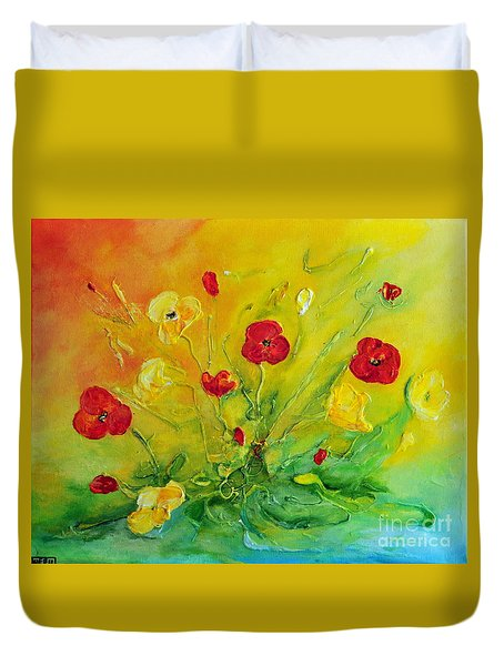 Duvet Cover featuring the painting My Favourite by Teresa Wegrzyn
