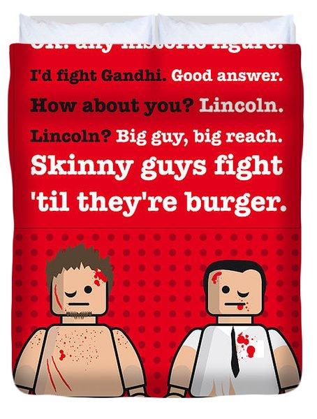 My Fight Club Lego Dialogue Poster Duvet Cover by Chungkong Art