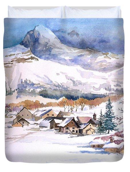 My First Snow Scene Duvet Cover by Alban Dizdari