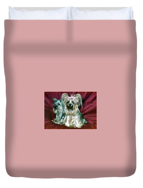 Duvet Cover featuring the photograph My Friends Yorkies by Phyllis Kaltenbach