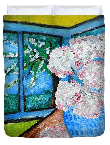 My Grandma S Flowers   Duvet Cover by Ramona Matei
