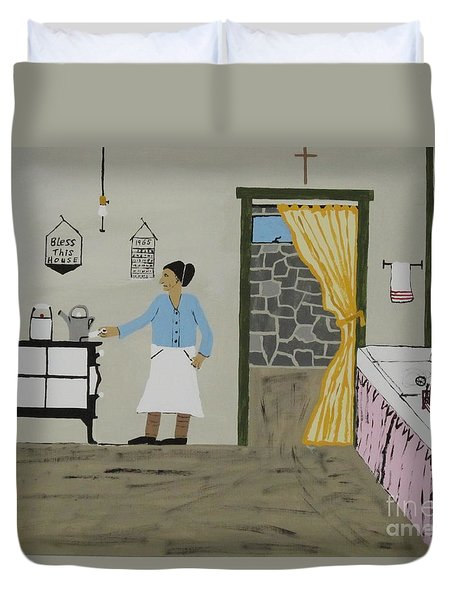 Duvet Cover featuring the painting Coal Miners Wife by Jeffrey Koss