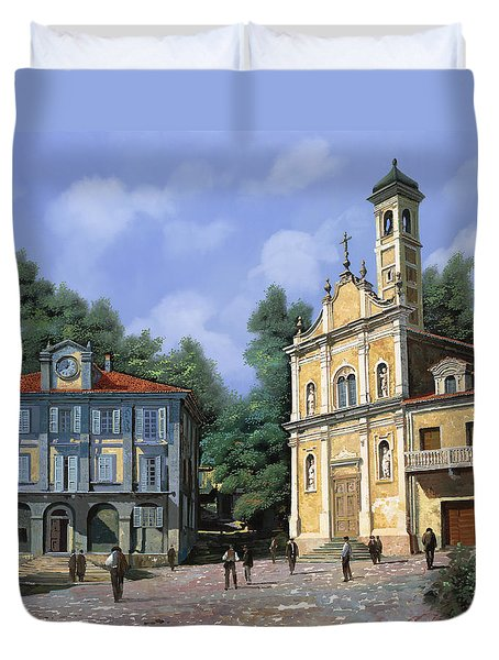 My Home Village Duvet Cover by Guido Borelli