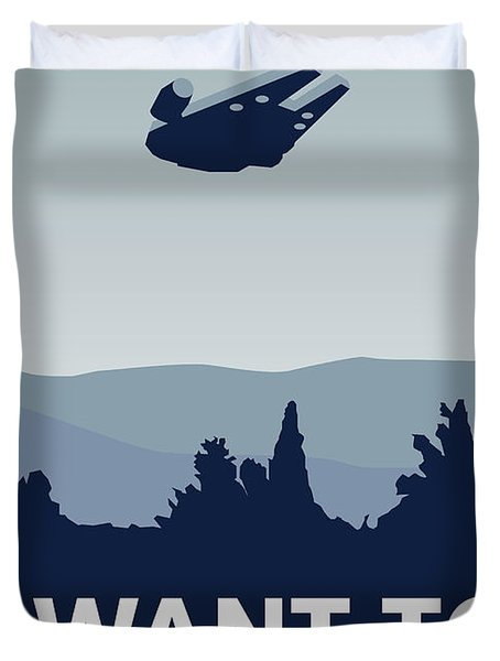 My I Want To Believe Minimal Poster-millennium Falcon Duvet Cover by Chungkong Art