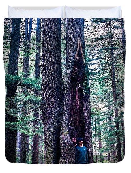 My Korean Friends In Manali Forest Duvet Cover