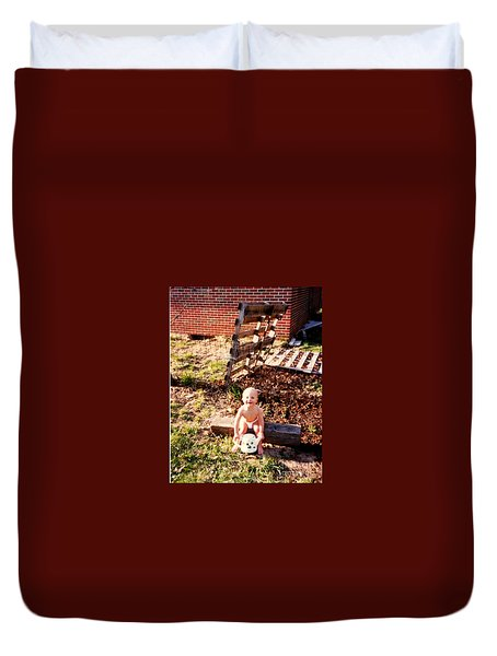 Duvet Cover featuring the photograph My Lil Gardener by Kelly Awad