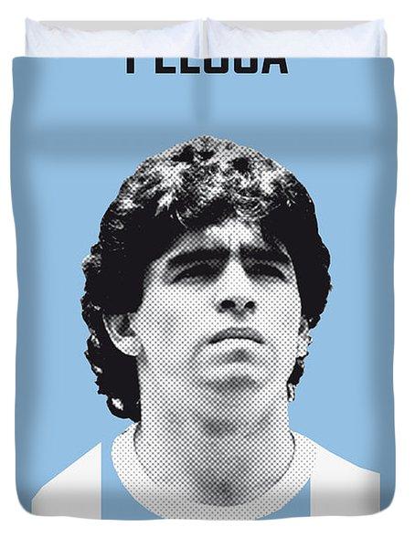 My Maradona Soccer Legend Poster Duvet Cover by Chungkong Art