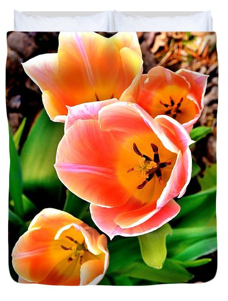 My Mom's Tulips Duvet Cover