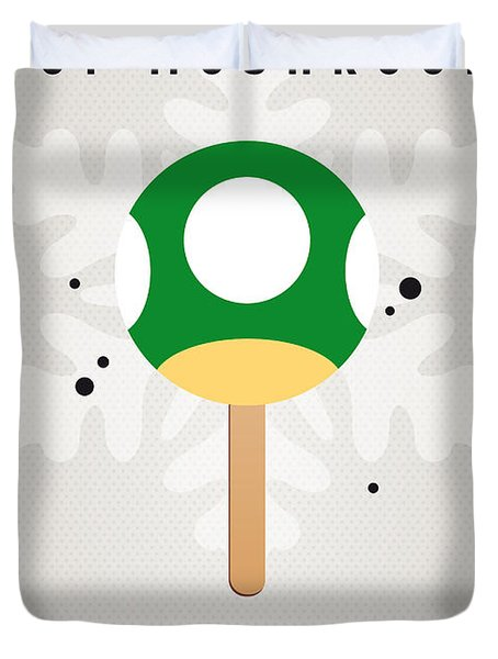 My Nintendo Ice Pop - 1 Up Mushroom Duvet Cover by Chungkong Art