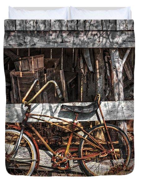 My Old Bike Duvet Cover by Debra and Dave Vanderlaan