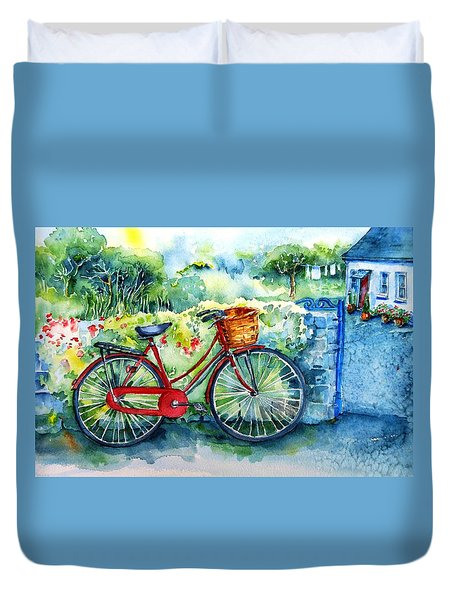 My Red Bicycle Duvet Cover by Trudi Doyle