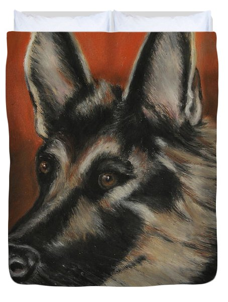 Duvet Cover featuring the painting My Sadie by Jeanne Fischer