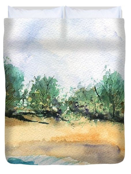 Duvet Cover featuring the painting My Secret Beach by Marionette Taboniar