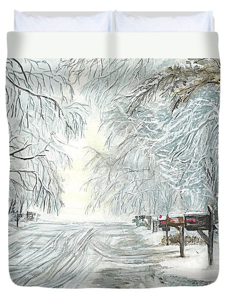 Duvet Cover featuring the painting My Slippery Street  by Carol Wisniewski