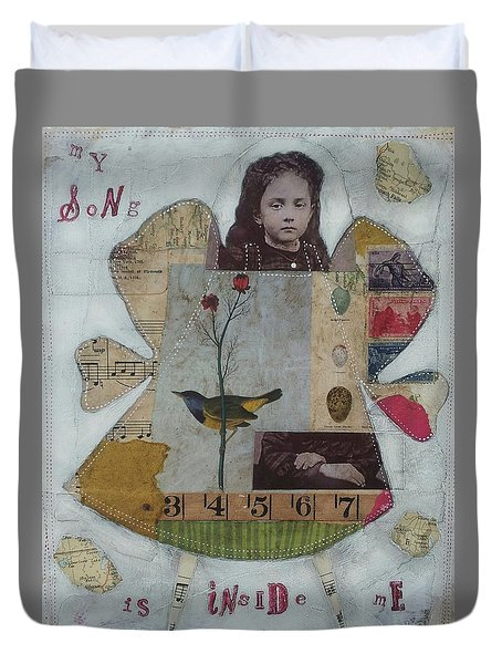 Duvet Cover featuring the painting My Song Is Inside Me by Casey Rasmussen White