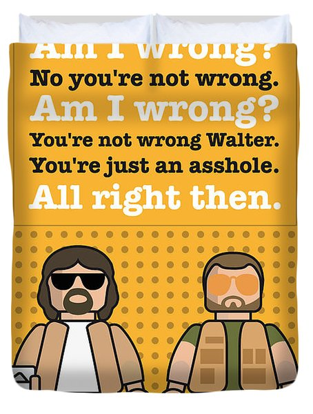 My The Big Lebowski Lego Dialogue Poster Duvet Cover