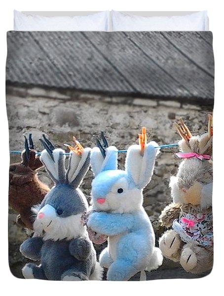 Toys On Washing Line Duvet Cover by Nina Ficur Feenan