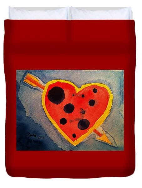 Duvet Cover featuring the painting Imperfect Love by Rand Swift