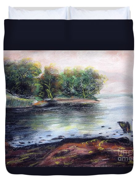 Duvet Cover featuring the pastel My View by Vesna Martinjak